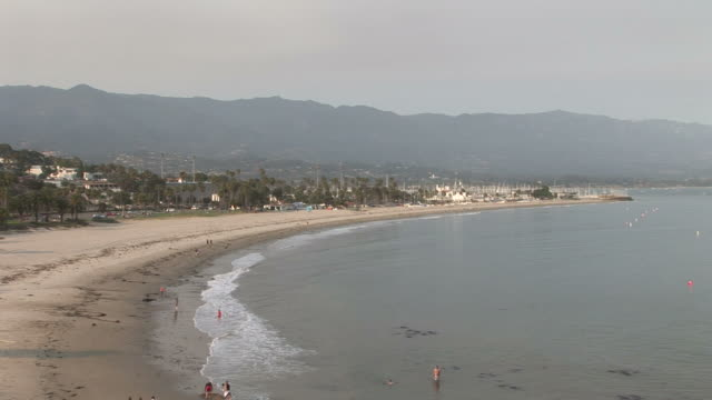 wide shot of a beach in santa barbara united states - santa barbara california stock videos & royalty-free footage