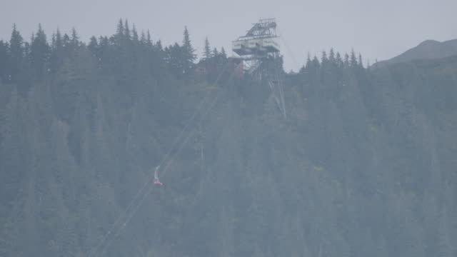 Wide shot of a cable car ascending in Juneau