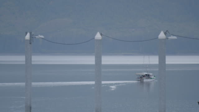 vídeos y material grabado en eventos de stock de wide shot of a cruising boat with lamp posts in the foreground - pasear en coche sin destino