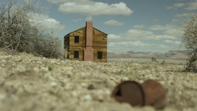 wide shot of a house at nevada test site - nevada stock-videos und b-roll-filmmaterial
