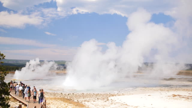 Wide shot of a large group of tourists watching steaming hot springs and geysers erupting in Yellowstone National Park