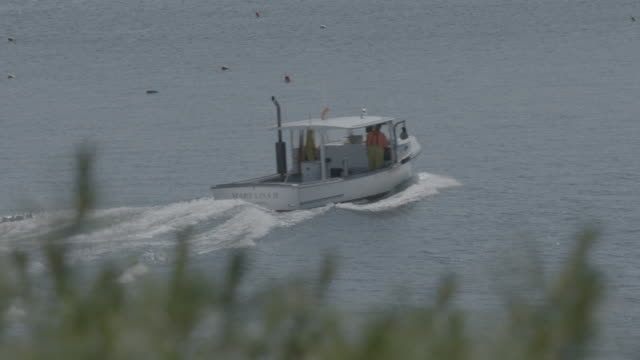 Wide shot of a motorboat driving by in Boothbay Harbor