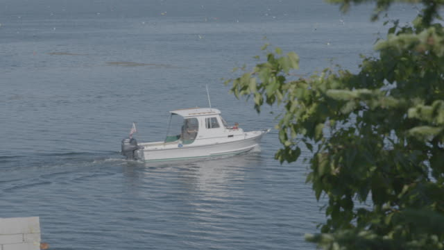 Wide shot of a motorboat in Boothbay Harbor