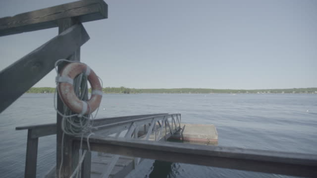 Wide shot of a pier in the Boothbay Region