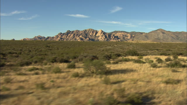 wide shot of a shrubland with mountains in the background in arizona - shrubland stock videos & royalty-free footage