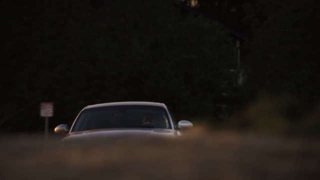 Wide shot of a silver BMW 2009 135i Coupe driving past on a ridge at sunset.