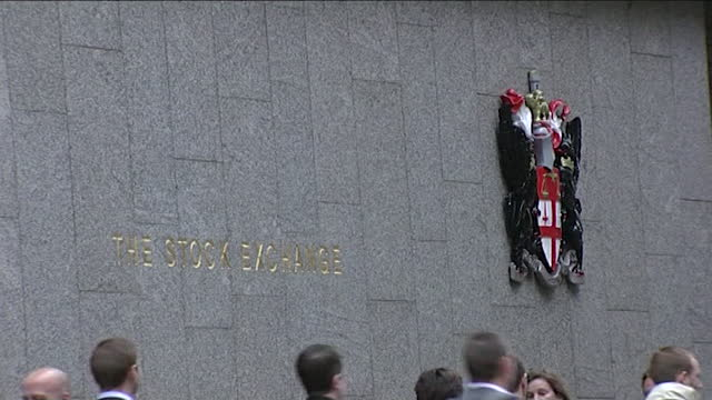wide shot of an exterior wall of the london stock exchange in old broad street with a large coat of arms on september 11th 2001. - wide stock videos & royalty-free footage