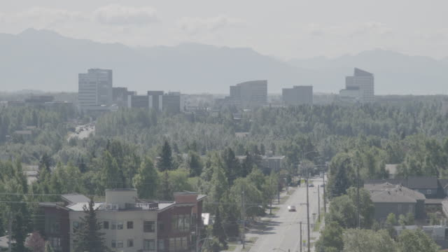 wide shot of anchorage city landscape - anchorage alaska stock videos & royalty-free footage