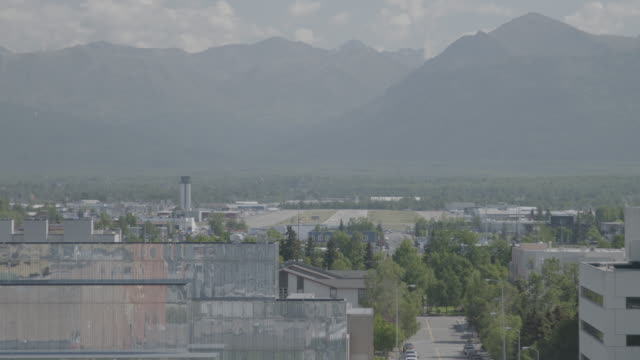 wide shot of anchorage city landscape - anchorage alaska stock videos and b-roll footage