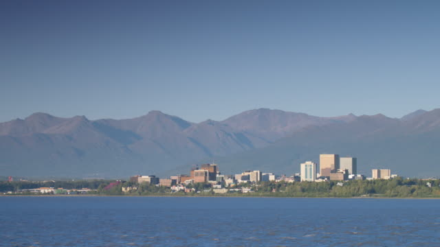 wide shot of anchorage cityscape - anchorage alaska stock videos & royalty-free footage