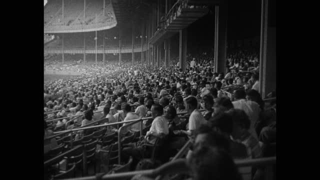 wide shot of audience watching baseball game in yankee stadium, new york city, new york, usa - mature women stock videos & royalty-free footage