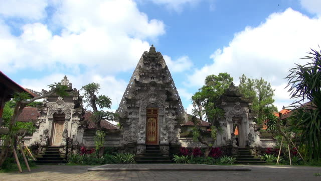 Wide Shot of Bali Indonesia Temple with Blue Sky