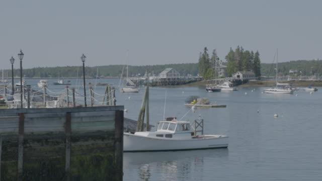Wide shot of boats in Boothbay Harbor