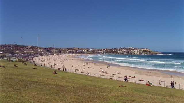 Wide shot of Bondi Beach on clear day / Sydney, Australia