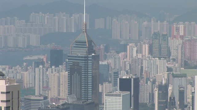 wide shot of central plaza in hong kong china - central plaza hong kong stock videos & royalty-free footage