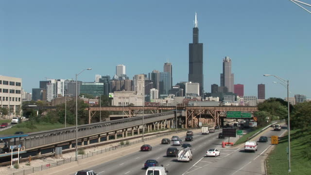 Wide shot of Chicago City United States