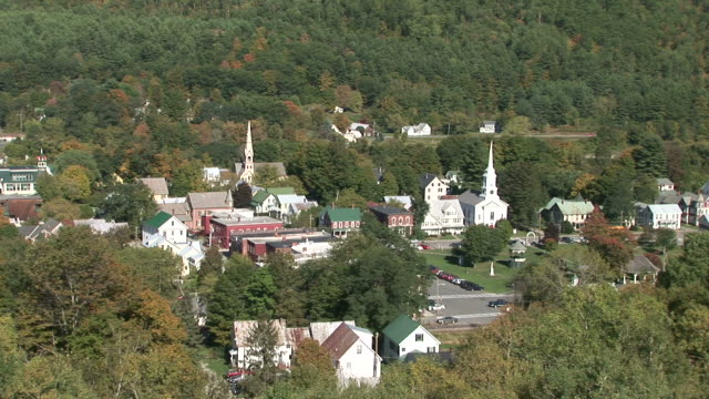 Wide shot of Churches in Vermont United States