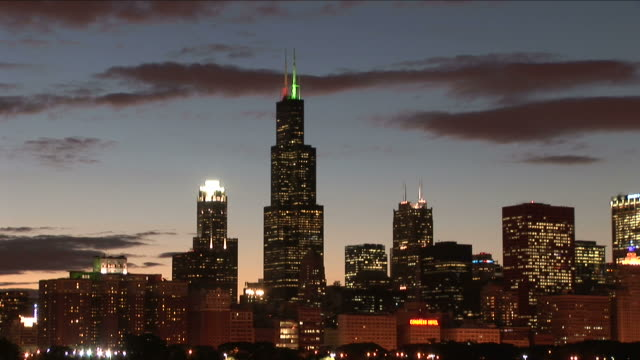 Wide shot of city at magic hour in Chicago United States