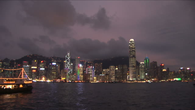 Wide Shot of city at magic hour in Hong Kong China