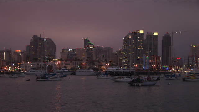 Wide shot of city at magic hour in San Diego United States