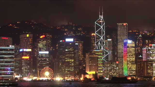Wide Shot of city at night in Hong Kong China