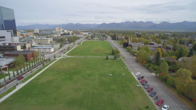 wide shot of delaney park strip in downtown anchorage - anchorage alaska stock videos & royalty-free footage