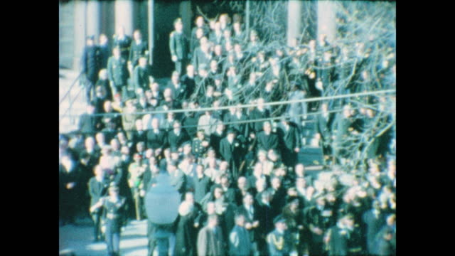 wide shot of dignitaries leaving the funeral service for john f. kennedy at the cathedral of st. matthew the apostle. - apostle stock videos & royalty-free footage