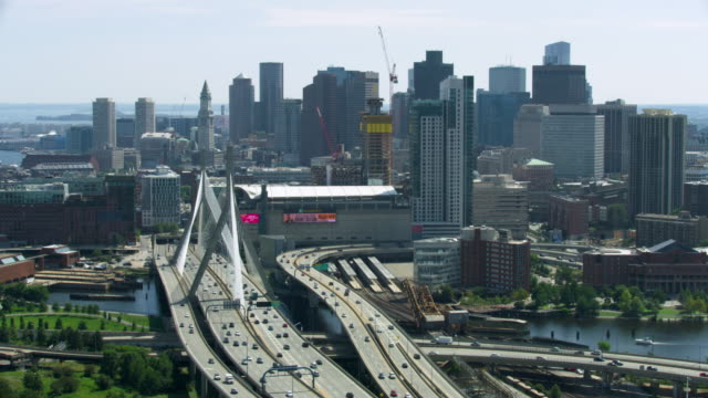 wide shot of downtown boston seen from north - custom house tower stock videos & royalty-free footage