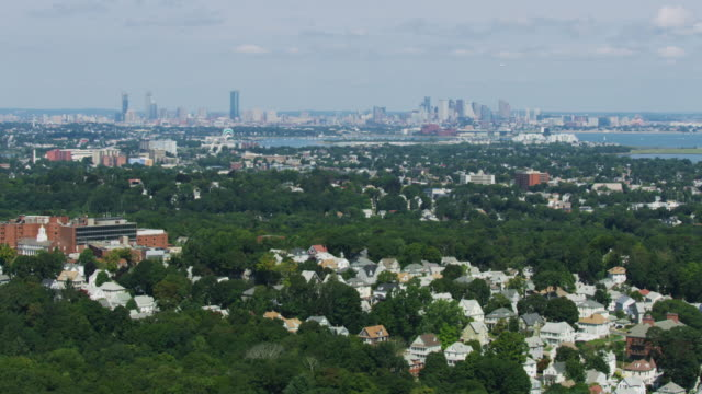 wide shot of downtown boston seen from over the blue hills reservation - new england usa stock videos & royalty-free footage