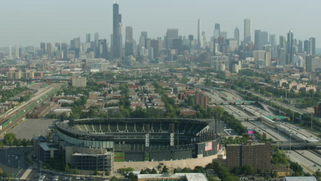 Wide shot of Downtown Chicago with the Guaranteed Rate Field in the foreground