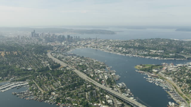 wide shot of downtown seattle with the lake union in the foreground - washington state stock videos & royalty-free footage