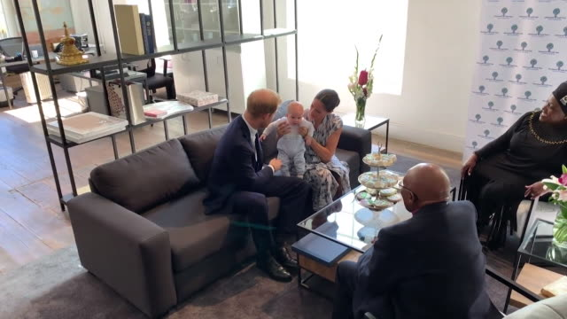 wide shot of duke and duchess of sussex take baby son archie to meet archbishop desmond tutu and his daughter thandeka tutugxashe in cape town during... - harry meghan tour stock videos and b-roll footage