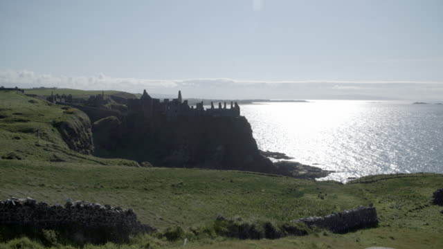 Wide shot of Dunluce Castle / County Antrim, Northern Ireland