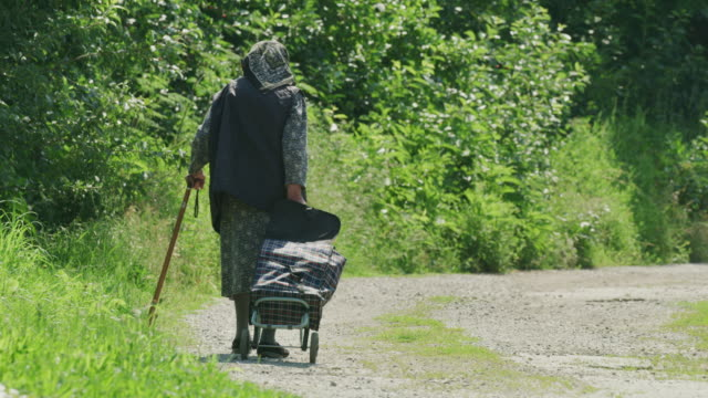 vídeos de stock e filmes b-roll de wide shot of elderly woman pulling rolling cart on dirt path / plakovo, bulgaria - bengala acessório
