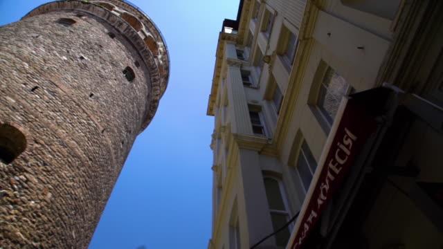 vídeos de stock e filmes b-roll de wide shot of european buildings next to tower - exposto ao ar
