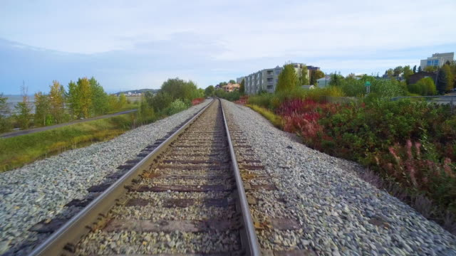 wide shot of flying along railroad tracks and above downtown anchorage - anchorage alaska stock videos & royalty-free footage