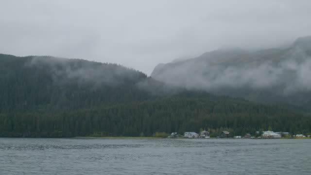 Wide shot of forested hills and houses on the shore of Resurrection Bay