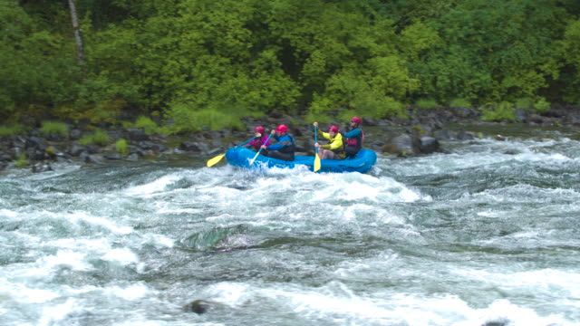 wide shot of four people rafting on a river - 30 39 years stock videos & royalty-free footage
