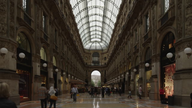 wide shot of galleria vittorio emanuele ii / milan, italy - flooring stock videos & royalty-free footage
