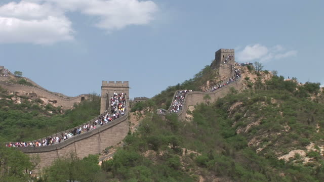 Wide shot of Great Wall of China in Beijing China