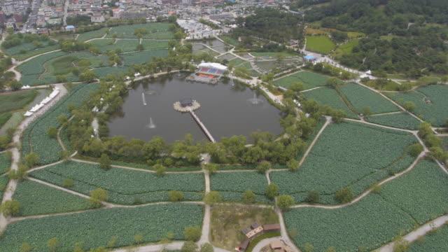 stockvideo's en b-roll-footage met wide shot of gungnamji pond (a man-made pond) in buyeo, south korea - natuurwonder