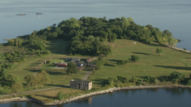 wide shot of hart island - hart island stock videos & royalty-free footage