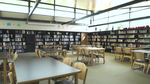 Wide shot of high school library