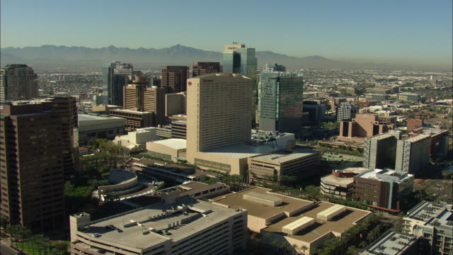 Wide shot of high-rise buildings in downtown Phoenix
