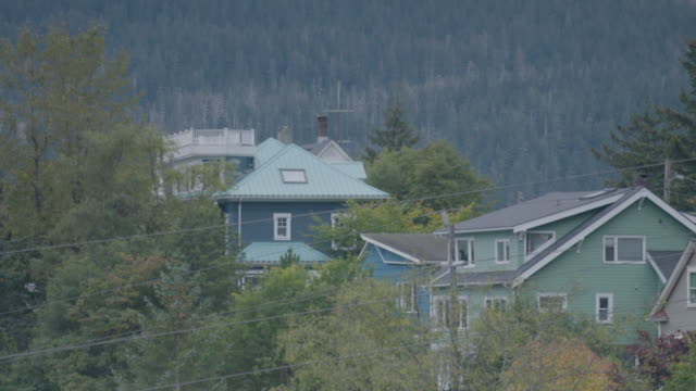 wide shot of houses in an alaskan town - juneau stock videos and b-roll footage