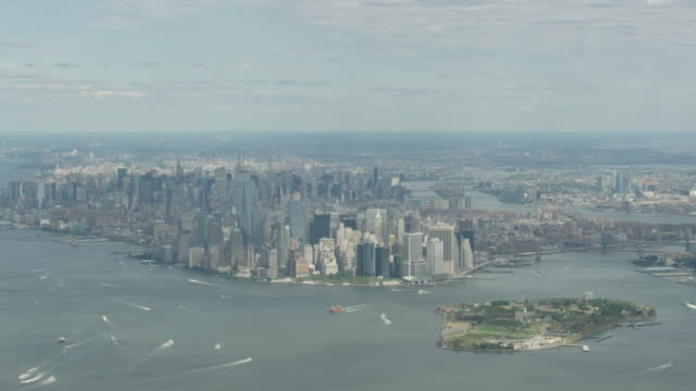 Wide shot of Manhattan with the Governors Island in the foreground