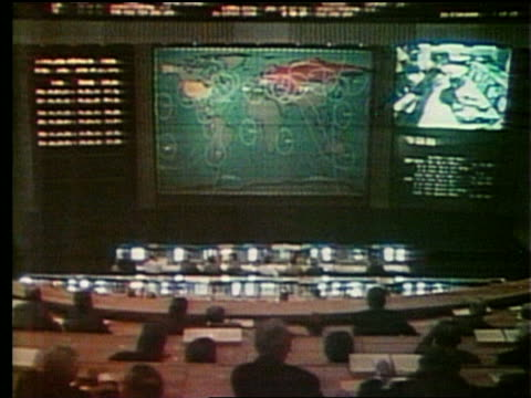 wide shot of mission control with map + projection screen - anno 1975 video stock e b–roll