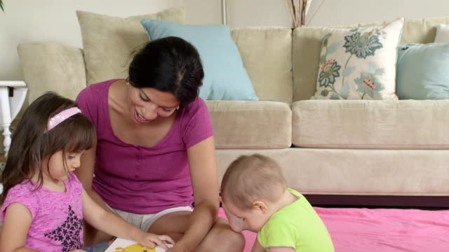 Wide Shot of Mother Reading with 2 year old Daughter