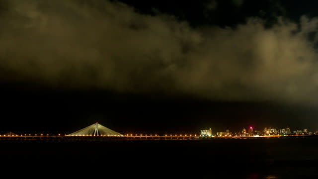 wide shot of mumbai worli sea link at night - cityscape stock videos & royalty-free footage