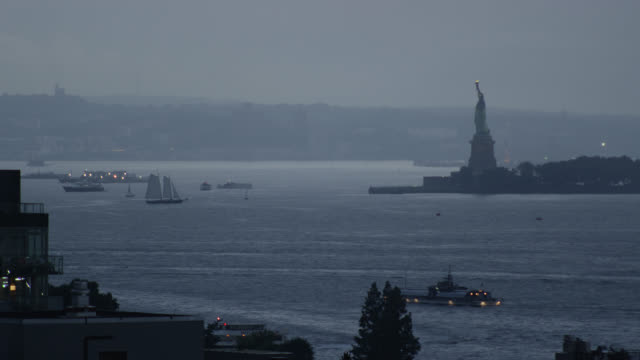 wide shot of new york city harbor - new york harbor stock videos & royalty-free footage